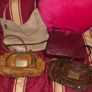 4 mix of handbags all leather